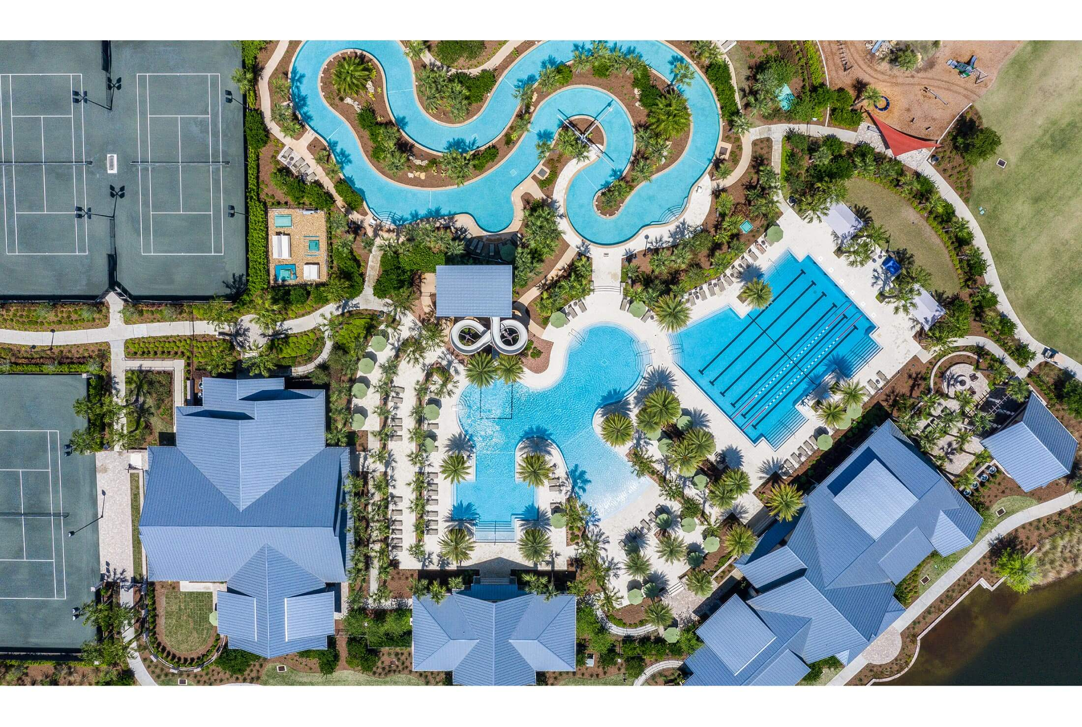 Aerial photo of the Shearwater community amenity center