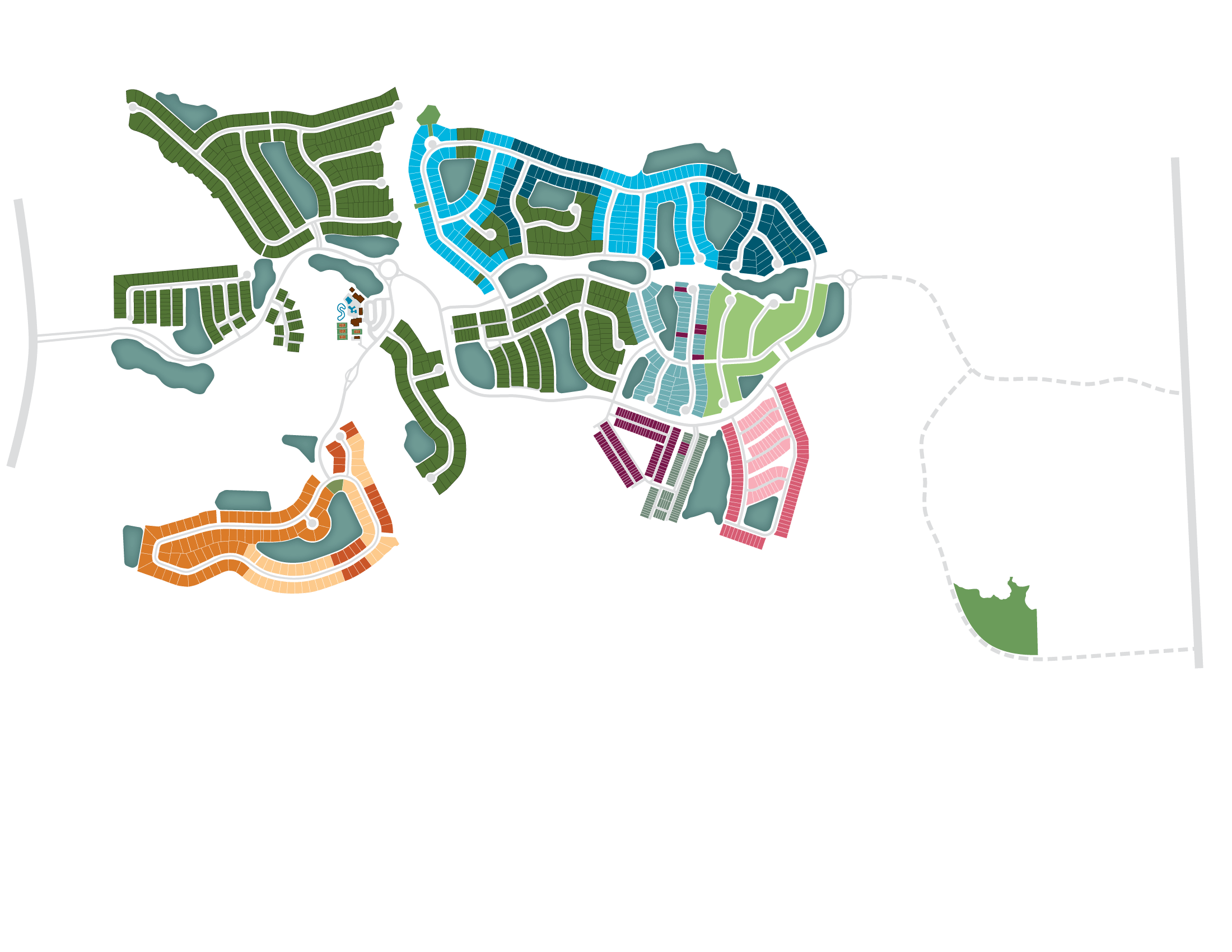 Shearwater site plan graphic showing home builder locations